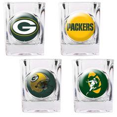 Green Bay Packers Square Shot Glass Set with Individual Mixed Logos 13541c50e