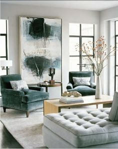 Love the cool colour palete in this room - gorg