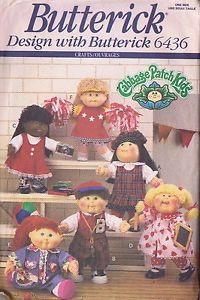 CABBAGE-PATCH-DOLL-CLOTHES-Dress-Jacket-Pants-Sewing-Pattern-6436-BUTTERICK-CUT
