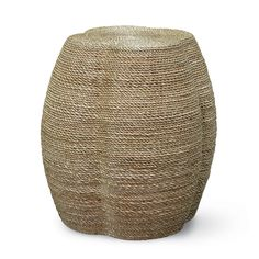 """WRAPPED ROPE CLOVER STOOL/TABLE WRAPPED ROPE CLOVER STOOL/TABLE  Rattan pole frame wrapped with fine natural abaca rope. Measurements Catalog Page: 220 18""""d x 19""""h Top: 18""""d Can be shipped Federal Express.  6269-01 Natural"""