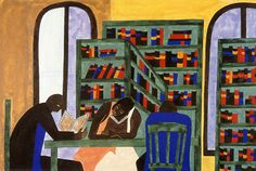 Students in a Libary- Jacob Lawrence, 1943.Gouache on paper