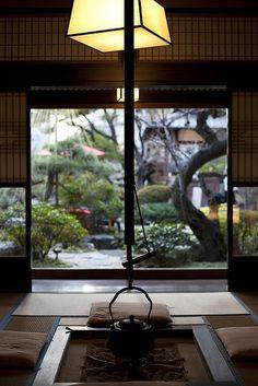 Private tea room overlooking Japanese   gardens at Tofu-ya Ukai, one of my favorite restaurants in   Tokyo