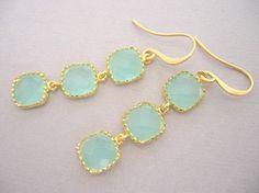 Mint Opal Blocks Earrings