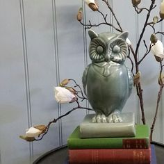 On to be as wise as an owl.  Glazed blue owl