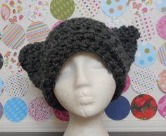 Cat Ears Hat in Chunky Grey
