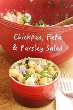 Chickpea Salad Recipe - This is fast, delicious and filling. I will eat this for lunch with a piece of fruit. Stuff this in a pita for a sandwich or add some canned tuna to mix it up a bit. About 150 calories and 2 WW Freestyle SmartPoints! Ww Recipes, Vegetarian Recipes, Cooking Recipes, Healthy Recipes, Feta Salad, Healthy Snacks, Healthy Eating, Chickpea Salad Recipes, Vegetarian Food