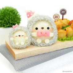 Kawaii Bento by Maysatch Lin - Hedgehog Box Kawaii, Kawaii Bento, Japanese Food Art, Japanese Sweets, Food Art Bento, Kawaii Cooking, Sushi, Cute Bento Boxes, Bento Recipes