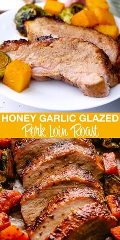 Succulent roasted Pork Loin prepared with a spice rub plus a honey-dijon garlic sauce that will have you coming back for more and more! I like to add seasonal vegg Pork Loin Recipes Oven, Baked Pork Loin, Meat Recipes, Healthy Recipes, Crockpot Pork Loin Roast, Pork Loin Marinade, Oven Roasted Pork Tenderloin, Pork Roast In Oven, Pork Loin Ribeye Roast Recipe