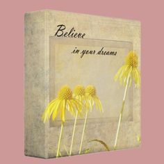 Yellow Echinacea Inspired Floral 3 Ring Binders by joacreations