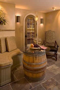 Wine cellar with sitting area... lol for the wine cellar I'm sure my house will come with someday :)