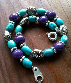 Turquoise and Purple Bracelet by MothersOnTheMountain on Etsy, $15.00