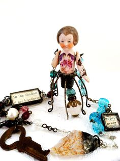RESERVED FOR MISSY Hinged Doll Necklace Altered Art by Mystarrrs, $90.00