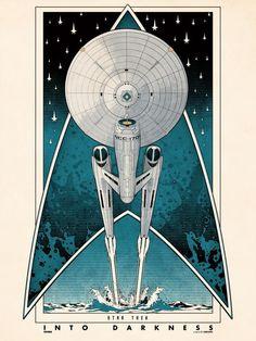 Star Trek Into Dark.Ness Movie Art Deco Poster Wall - No Frame Framed Canvas Star Trek 2009, Star Trek Kostüm, New Star Trek Movie, Star Trek Movies, Star Trek Ships, Star Trek Voyager, Star Trek Wallpaper, Star Trek Online, Star Trek Into Darkness