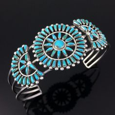 ZUNI HANDMADE STERLING SILVER & PETIT POINT TURQUOISE CLUSTER CUFF BRACELET