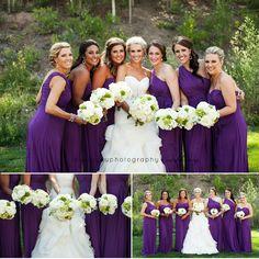 Bride with Bridesmaids in purple. Northstar at Tahoe Wedding.