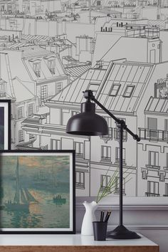 Want to create a sophisticated study space? Fall in love with the rooftops of Paris with this completely unique city wallpaper mural. The simple lines etch out a detailed aerial view of Paris, creating depth and intrigue. Ideal for home office spaces looking for a contemporary feel.
