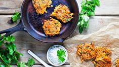 Sweet Potato Kale Latkes with Lemon Green Onion Parsley Sauce - Further Food