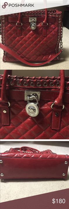 """Michael Kors Hippie Grommet Hamilton Red Tote Michael Kors Hippie Grommet Hamilton Red SAFFIANO Leather Tote! Currently unavailable anywhere else. 🚫Trades 🚫PayPal * Magnetic snap closure * Double top handles * Chainlink and leather shoulder strap with a 12"""" drop * Grommet embellishment at trim * Front logo lock * Silver tone hardware * Interior zip pocket * Three interior open pockets * Interior cell phone pocket * Glossy quilted leather * Logo jacquard lining * Dust bag included * 13""""H x…"""