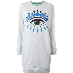 Kenzo Eye sweatshirt dress ($355) ❤ liked on Polyvore featuring dresses, grey, longsleeve dress, long sleeve embroidered dress, gray dress, grey sweatshirt dress and embroidery dresses