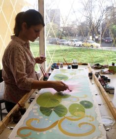 Hand painted silk scarves and shawls from Budapest. www.silkywaysilk.com.