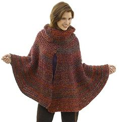 Free Crochet Pattern 40487 Day to Night Poncho : Lion Brand Yarn Company