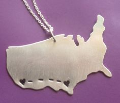 Long Distance Love/friendship Customizable Necklace.  Love if I go to an out of state college!