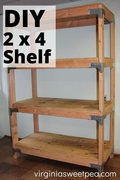 DIY 2x4 Shelf - Learn how to make a super handy shelving unit with plyboard and 2x4 lumber. This is great for a garage, basement, or shed. #2x4project #diyshelves #diyshelvingunit via @spaula Wooden Storage Shelves, Wood Shelving Units, Garage Storage, Storage Shelving, Storage Ideas, Diy Projects Garage, Diy Wood Projects, Wood Crafts, Ana White