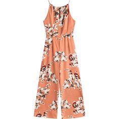 Cut Out Back Floral Wide Leg Jumpsuit (115 RON) ❤ liked on Polyvore featuring jumpsuits, floral wide leg jumpsuit, red wide leg jumpsuit, floral romper, wide leg jumpsuit and floral jumpsuit