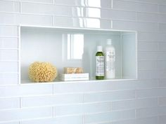 Image result for subway tile niche in shower