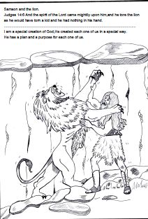 samson bible sunday school lesson samson and the lion coloring page - Coloring Page Lion