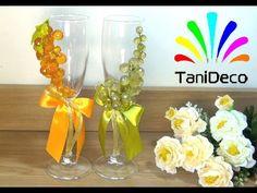 Свадебные бокалы с декоративным виноградом. Wedding glasses with decorative grapes. - YouTube