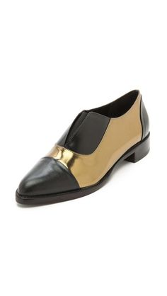 Jenni Kayne metallic leather black + gold oxfords