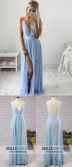 Long Prom Dresses,Blue Prom Dresses,Cheap Prom Dresses Backless,A-line Prom Dresses V-neck,Chiffon Prom Dresses Split Front