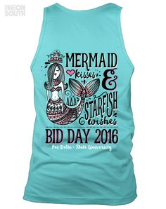 Fresh New Designs!! Visit our site to get your customized order started.  Tri Delta | Bid Day | Mermaid Kisses | Starfish Wishes | Beach Party | Spring Break | Sorority Shirts | Sorority Tees | Sorority Tanks | Greek Tees | Greek Tanks | Sorority Shirt Ideas | Greek Shirts