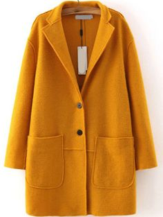 Lapel Single Breasted Pockets Yellow Coat pictures