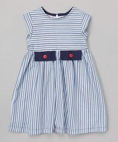 Navy Striped Button Patch Dress - Toddler & Girls #zulily #zulilyfinds