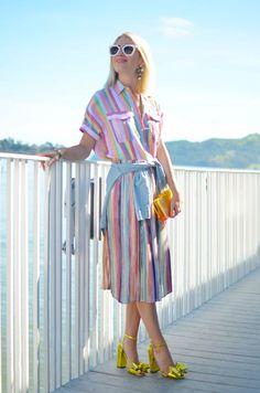 Springs Biggest Trend- Technicolor Stripes, pastel stripes, how to wear stripes on stripes, spring trends, zara pleated skirt