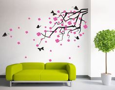 Butterfly and Pink Blossom Spring Branch Wall Decal Sticker Decor ** Product Description  Decal is die-cut without background and will show the