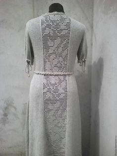 Платья ручной работы. Вязаное платье   бохо  лен размер оверсайз. кузнецова светлана. Ярмарка Мастеров. Бохо, Филейное кружево