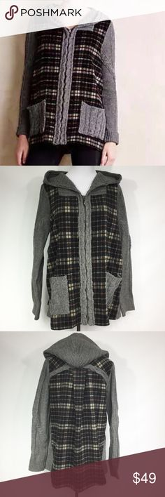ANTHROPOLOGIE MOTH PLAID HOODED DERRY SWEATER Black plaid hooded Derry sweater jacket with grey cable knit sleeves, hood and trim with a zip up front. Great pre-owned condition. Anthropologie Sweaters Cardigans