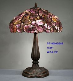 Raw Amethyst Quartz Stone Leadlight Table Lamp...it's certainly a different shade