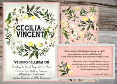 Custom Vintage Botanical Shower or Wedding by PAPERandPASTICHE rustic italian tuscan lemons nature ivy coral Italian Wedding Invitations, Engagement Invitations, Bear Wedding, Our Wedding Day, Vintage Italian Wedding, Rustic Italian Decor, Wedding Design Inspiration, Celebrity Weddings, Wedding Designs