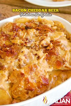 Bacon Cheddar Beer Potatoes Au Gratin are your favorite rich and creamy potatoes taken to a whole new level with bacon, cheese and beer.