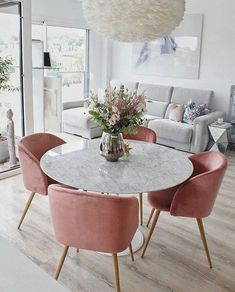 15 Modern Velvet Dining Chairs for the Dining Room - Pink Velvet dining chairs with marble dining table 15 Modern Velvet Dining Chairs for the Dining Room - Pink Velvet dining chairs with marble dining table Apartment Living, Home And Living, Modern Living, Barn Living, Small Living Dining, Small Condo Living, Dining Table In Living Room, Dining Sets, Modern Room