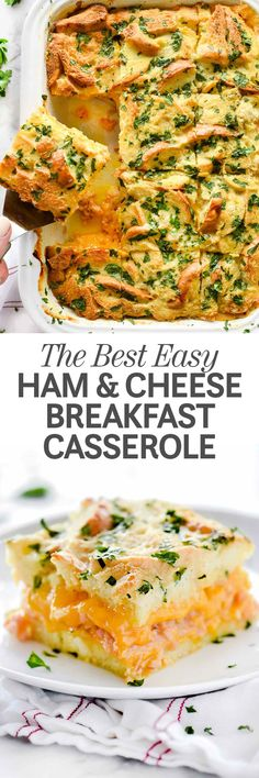 Breakfast for a crowd has never been easier thanks to this incredibly easy to assemble, make-ahead ham and cheese breakfast casserole that some may call a soufflé or a strata, but we just call delicious. Breakfast For A Crowd, Food For A Crowd, Breakfast Ideas, Brunch Ideas, Sunday Breakfast, Christmas Breakfast, Easy Brunch Recipes, Best Breakfast Recipes, Quick Recipes