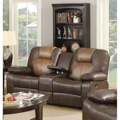 Lyke Home Jordy Two-tone Brown Bonded Leather Recliner Loveseat