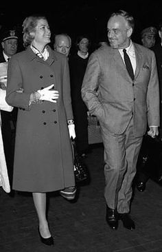 Milan, Central Station, 1966 - The Pince of Monaco Ranieri lll with his wife, princess and actress, Grace Kelly