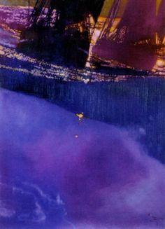 Sailing ship and ghost ship on rough seas by Bernard (Bernie) Fuchs