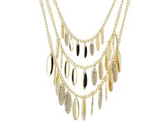Don't have to think too hard to layer these up, we've done the work for you! - Off Park Collection (Tm) White Crystal Gold Tone Layered Necklace
