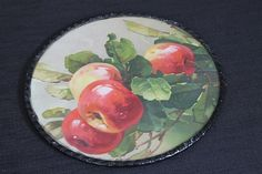 Vintage Chimney Flue Glass Cover Red & Yellow Apples Chain Hanger